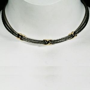 Jewelry - Estate silver and goldtone open collar  necklace